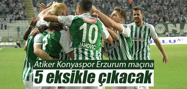 Atiker Konyaspor Erzurum maçına 5 eksikle çıkacak