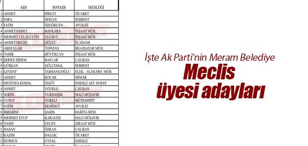 İşte Ak Parti'nin Meram Belediye Meclis üyesi adayları